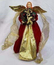 """Large Porcelain Gold & Red 17 1/2"""" Tall Tree Topper Or Standing Angel"""