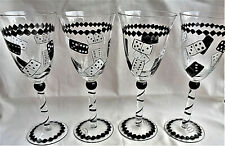 New Listing Hand Painted Champagne Flutes Set of 4 Unique Dominos Hand Painted Glassware