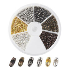 420pcs/Box 6 Color Brass Ball Chain Connector Clasps Findings Kits Craft 5x2mm
