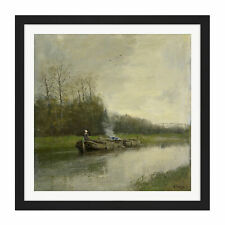 More details for anton mauve trekvaart river boat painting square framed wall art 16x16 in