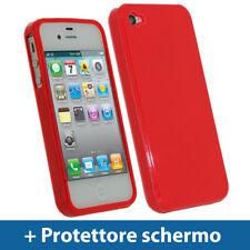 Rosso Custodia TPU Gel per Apple iPhone 4 & 4S 4G 16gb 32gb Case Cover Rigida