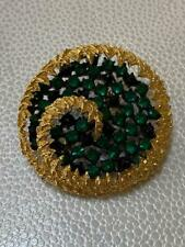 Vintage Prong Set Gold Plated & Green Rhinestone Pin/ Brooch - Costume Jewelry