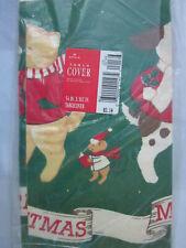 "HALLMARK CHRISTMAS TABLE COVER PAPER TABLECLOTH 54"" x 102"" Dog Bear Mouse NEW"