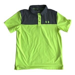 Under Armour Loose Fit Heat Gear Gray & Neon Yellow Youth S/S Polo Size Large