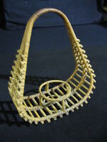 """Vintage Mid-Century Wicker Votive or Candle Carrying Basket 13"""" x 11"""""""