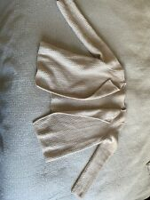 The White Company Beige Waffle Texture Open Cardigan Size XL Merino Wool Soft