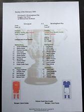 2000-01 League Cup Final Liverpool v Birmingham City matchsheet