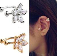 Damen Ohrklemme Ohrbügel Ohrring Helix Blüte Blume Symbol Strass Silber Filigran