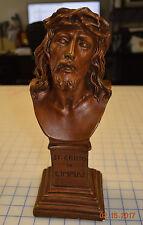 """Vintage Jesus Christ Bust Crown of Thorns ST Cristo de Limpias Chalkware 13"""""""