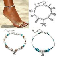 Women Boho Shell Turquoise Beads Pendant Anklet Bracelet Ankle Foot Chain Bangle