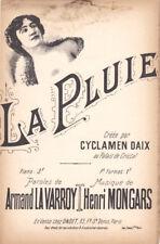 La pluie créée par Cyclamen Daix partition pour chant 1900 Henri Mongars