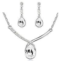Elegant White Teardrop Bridal Crystal Jewellery Set Drop Earrings Necklace S835