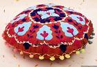 Embroidered Suzani Cushion Cover Decorative 16'' Round Pillow Case Car Decor