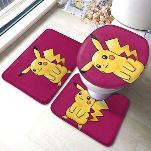 Pokemon Pikachu Toilet Mat 3 Piece Set Foot ・Bath ・ Toilet Lid Cover  F/S