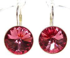 SoHo® Ohrhänger Ohrringe geschliffene Kristalle 14mm rivoli Rose rosa silber