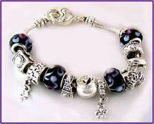 charm black BEADS heart bracelet 925 sterling silver bracelet bangle  rrp $79.99