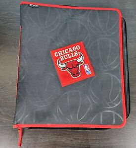 Vintage MEAD Trapper Keeper Chicago Bulls 3 Ring Binder Black Red NBA Folder