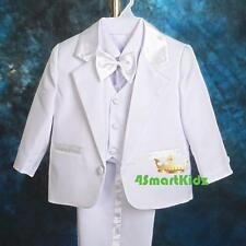 5pc Set Formal Suits Outfits Christening Wedding Page Boy White Size 000 St022a