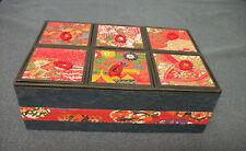 "ORIENTAL RED/GOLD SILK BROCADE MOTIF 6 CUBBY LIDDED TRINKET BOX  7""x5""x2""   NWOT"