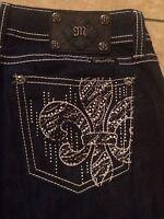 Miss Me Jeans 27 Easy Skinny Dark Blue Sz 27 x 31 Fleur De Lis Embellished