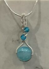 Handmade Beaded Wire Wrapped Pendant Necklace Silver - New - Gift