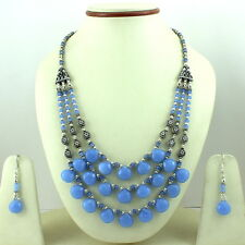 FASHION NECKLACE EARRINGS BLUE CHALCEDONY FACETED BEADED GEMSTONE 73 GRAMS