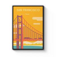 Retro San Francisco Travel Vintage Artwork Wall Art Poster Print Framed / Canvas