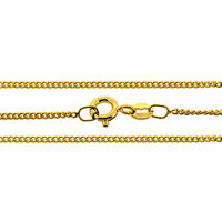 """9CT Gold Plated long 1.4mm 1.8mm Curb Chain Necklace 16 18 20 22 24 32 40"""" inch"""
