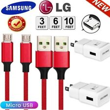 3/6/10Ft Micro Usb Cable Fast Wall Charger Long Cord For OEM Samsung LG Android