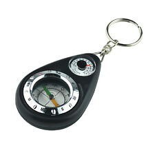 Portable Mini Compass Thermometer with Key Chain Ring for Hiking Camping Outdoor