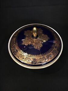 Royal Bavaria Porzellan Deckel-Dose, echt Cobalt - Handarbeit