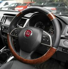 Wood Effect & Black Luxury Steering Wheel Cover for Dacia Duster Estate 13-On