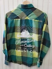 Flannel Shirt Quicksilver Kids 14 upcycle The Mountains are Calling