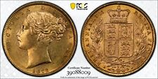 More details for 1872 gold sovereign pcgs ms62 victoria shield great britain die #4