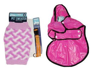 Medium Dog Sweater NEW + Pink Pet Rain Coat & Orange LED Dog Collar Max & Bella
