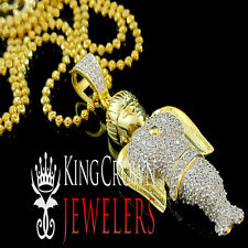 GENUINE YELLOW GOLD SILVER REAL LAB DIAMOND MINI ANGEL PIECE PENDANT CHAIN SET