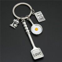 Keychains Cooking Baking Charms Egg Fry Key Ring Gift Chef Bakery Keyring Metal