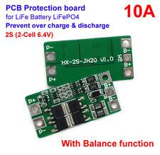 2S 10A 6.4V 7.2V LiFePo4 LiFe Battery Pack BMS Protection PCB w/ Balance Board