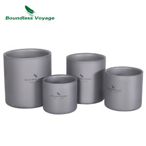 3 in 1 Double Walled Titanium Cup Ultralight Insulated Mug Outdoor Tableware