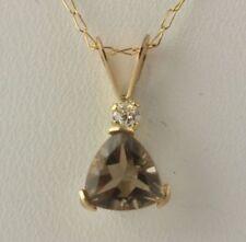 Nuevo Collar Cadena Colgante Cuarzo Ahumado Set-Oro amarillo 10k Cubic Zirconia Para Mujer .72ct