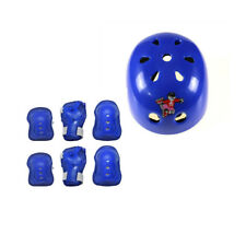 Kids 7Pcs Sports Protective Gear Set Safety Pad Blue (Helmet Knee Elbow Wrist)