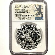 2017 Netherlands Royal Dutch Lion Dollar 1oz 9999 Silver Coin NGC PF70 ~ 5K