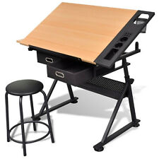 Drawing Table Tiltable Tabletop with Two Drawers Padded Stool Adjustable Height