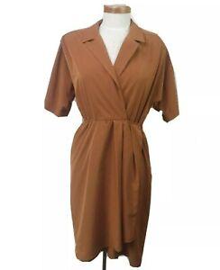Vintage 1980s Ian Burns Wrap Front Brown Dress Size 10