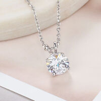 "1.00 Ct Round Cut Diamond Solitaire Pendant W/18"" Chain 14k White Gold Over"