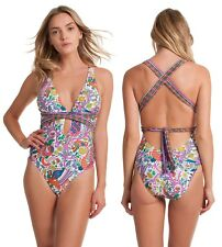 c32fdde322 Trina Turk 6117 Womens Multi Jungle Beach Plunging One-piece Swimsuit Size  US 12