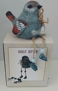 Cracker Barrel Bluebird Dangle Shelf Sitter Crystal Heart Bird w/Box New NIB