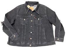 Levi's Women's Ex-Boyfriend Fringe Trucker Jacket In Faded Black (Plus Size) 3X