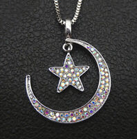 Betsey Johnson AB Crystal Moon Star Pendant Sweater Chain Necklace