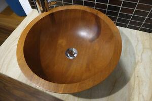 Holz-Waschbecken Aufsatzbecekn rund aus Teakholz ø420 x H150 mm